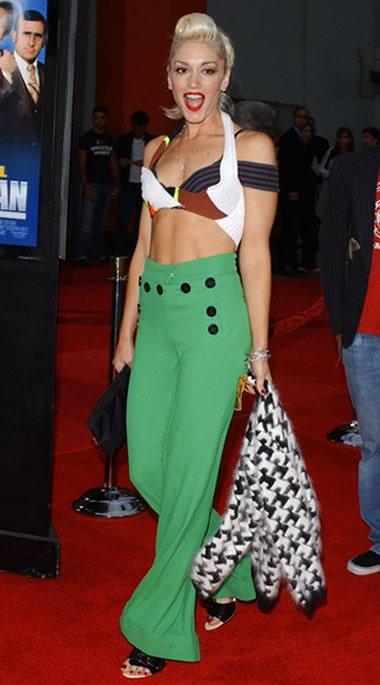 Gwen Stefani wearing high waist pants