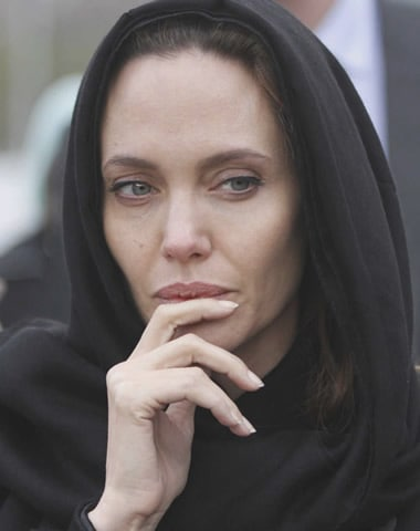 Angelina Jolie wearing hijab
