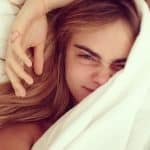 Cara Delevingne waking up in bed