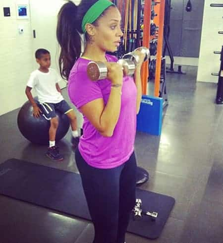 Lala Anthony lifting weights