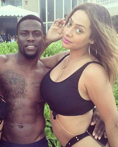 Lala Anthony posing with Kevin Hart