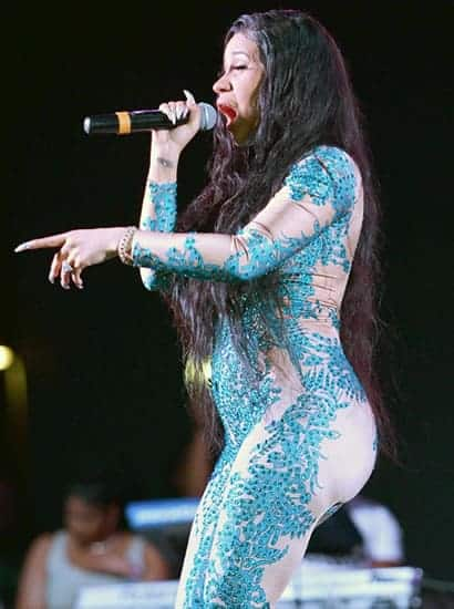 Cardi B looks like a blue mermaid in this outfit