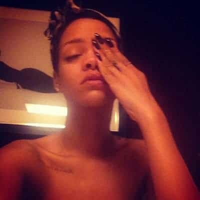 Rihanna can't open her eyes