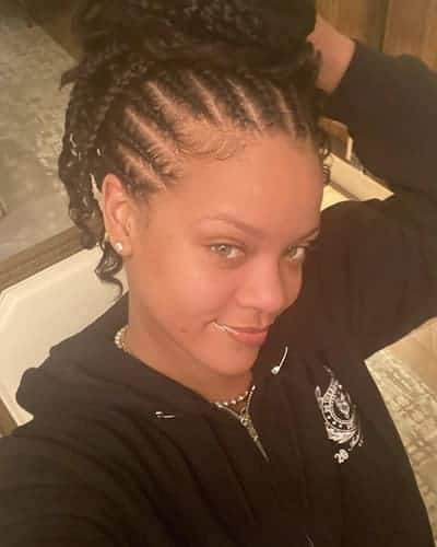 Rihanna has the coolest hair braiding while wearing no makeup
