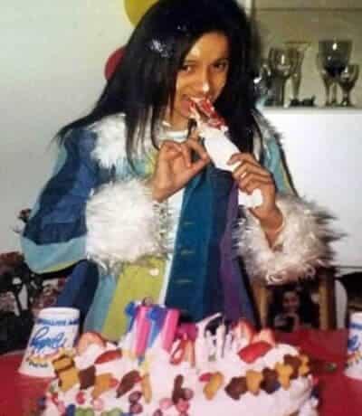 Cardi B eating birthday cake