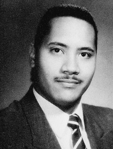Dwayne Johnson with moustache in yearbook photo