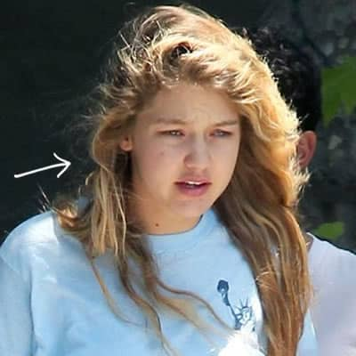Gigi Hadid with messy hair and no makeup
