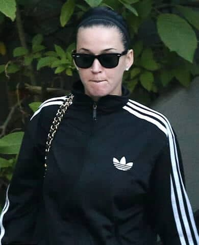 Katy Perry wearing all black on the street
