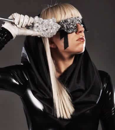 Lady Gaga with black crystal glasses