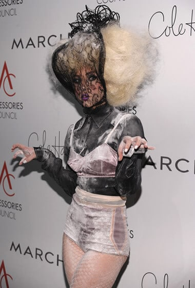 Lady Gaga dressed like a fairy floss monster