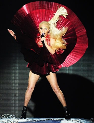 Gaga looks like a large singing rose