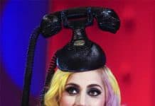 Lady Gaga wears a vintage telephone hairpiece