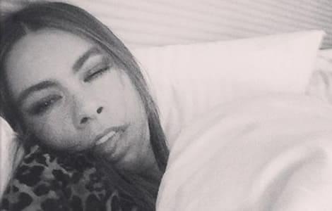 Sofia Vergara sick in bed