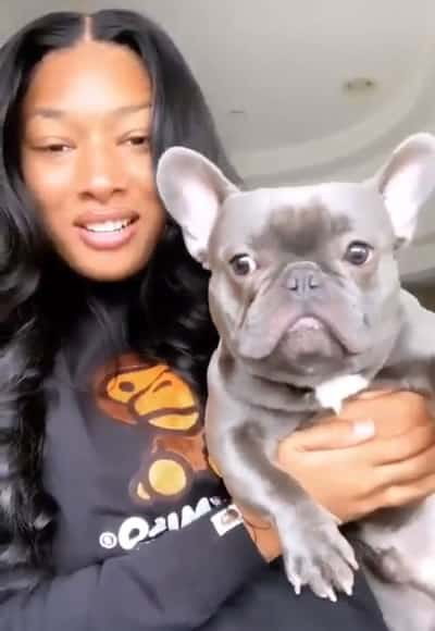 Megan Thee Stallion dancing with the dog