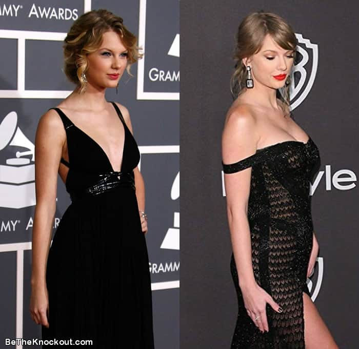 Taylor Swift breast implants before and after comparison photo