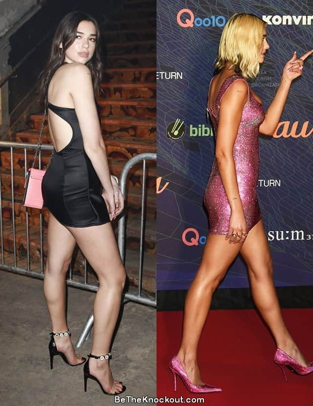 Dua Lipa butt lift before and after photo comparison