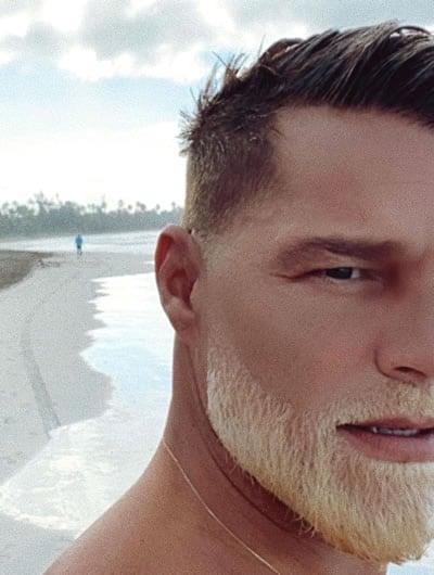 Ricky Martin's bleached beard looks nice but weird