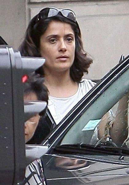Salma Hayek getting in her car
