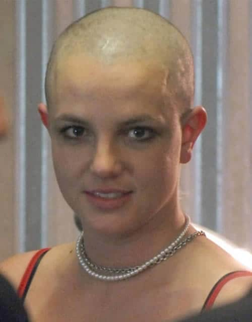 Britney Spears with a bald shaved head