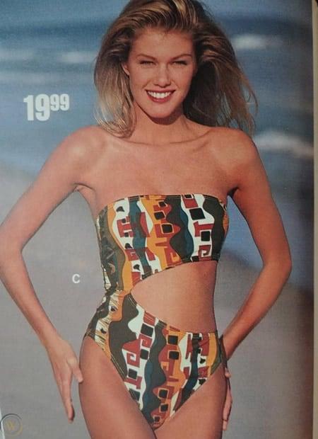Heidi Klum modeling for swimwear catalog