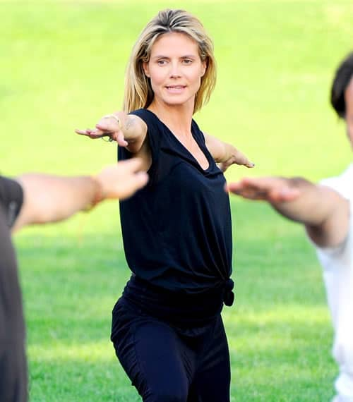 Heidi Klum working out at the park