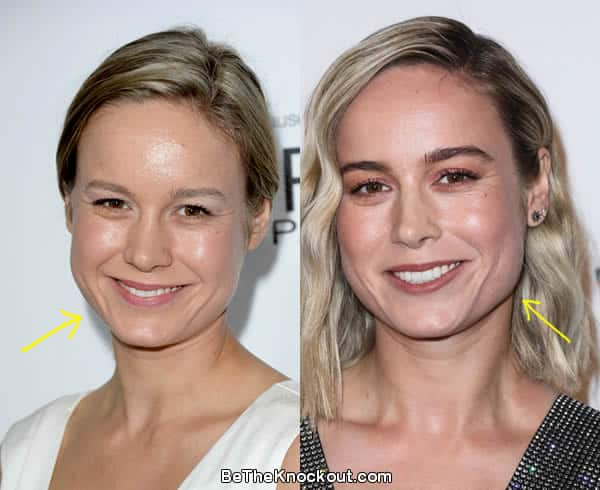 Brie Larson before and after comparison photo