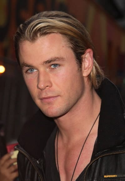 Chris Hemsworth with slicked back hairstyle