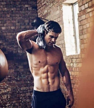 Chris Hemsworth wiping off sweat