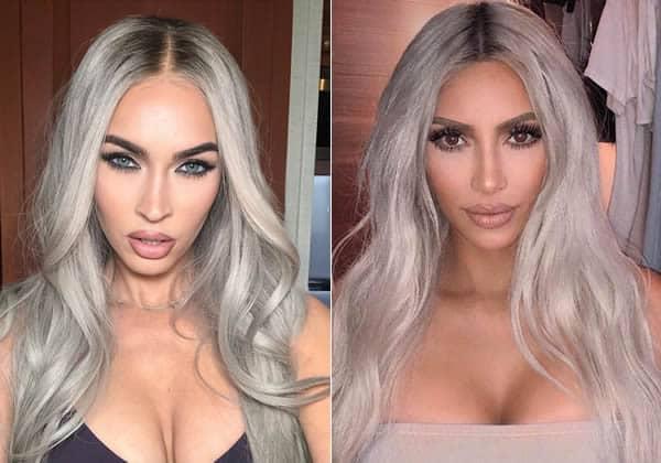 Megan Fox vs Kim Kardashian in grey hair